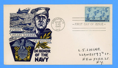 Scott #935 3c Navy Issue First Day Cover by L.W. Staehle