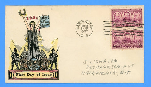 Scott #787 3c Army Issue - Union Generals Hand Colored First Day Cover by Washington Stamp Exchange Ralph Dyer