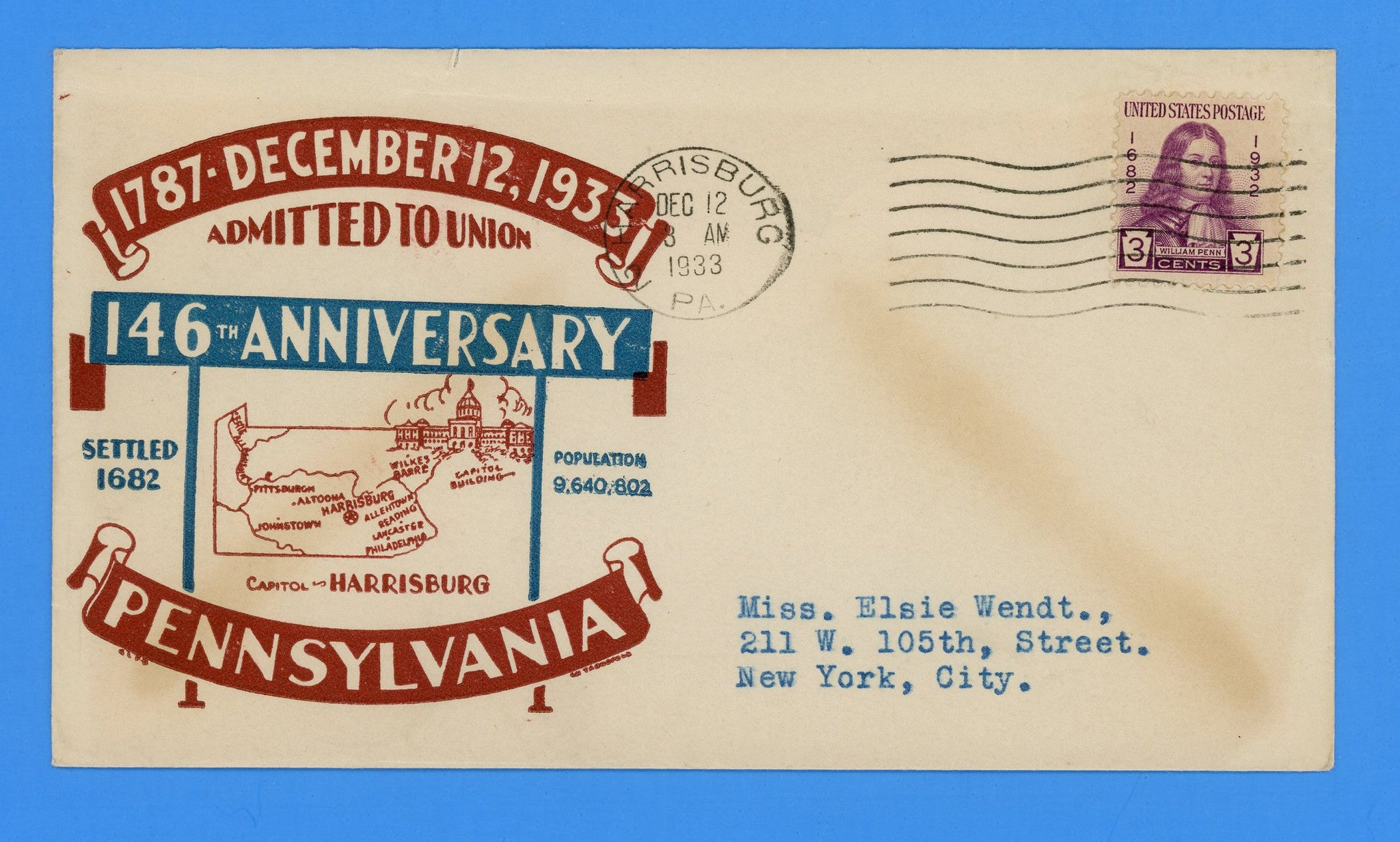 Pennsylvania Admitted to the Union 146th Anniversary December 12, 1933