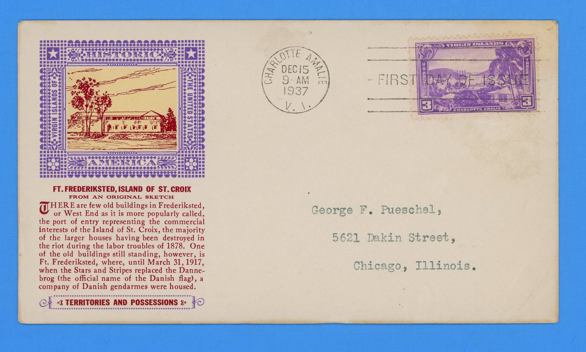 Scott #802 3c Virgin Islands First Day Cover by Eugene Laird