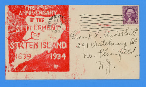 295th Anniversary of the Settlement of Staten Island January 5, 1934