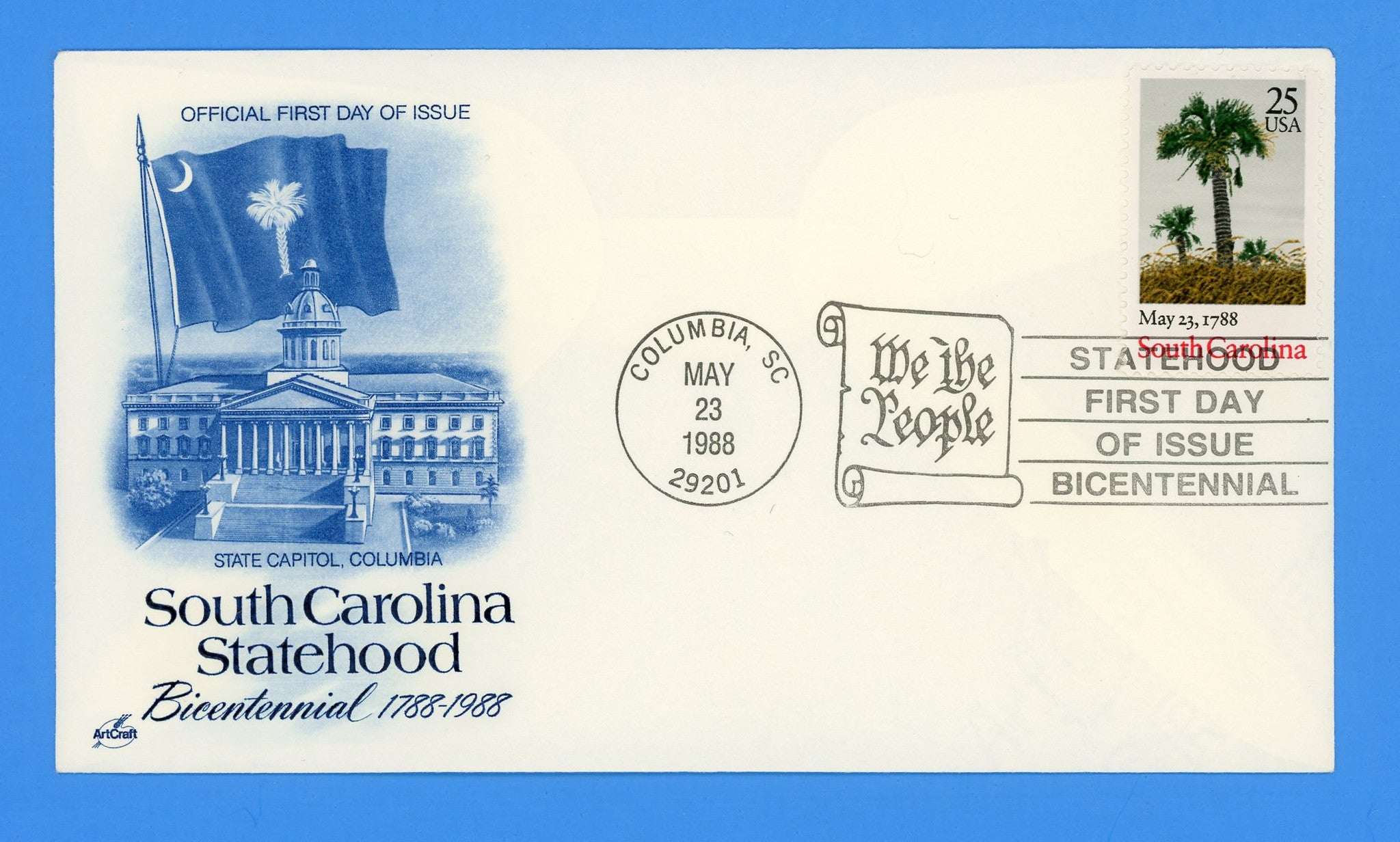 South Carolina Statehood First Day Cover by Artcraft