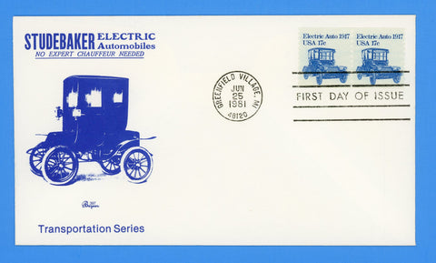 Electric Auto 1917 First Day Cover by Bazaar