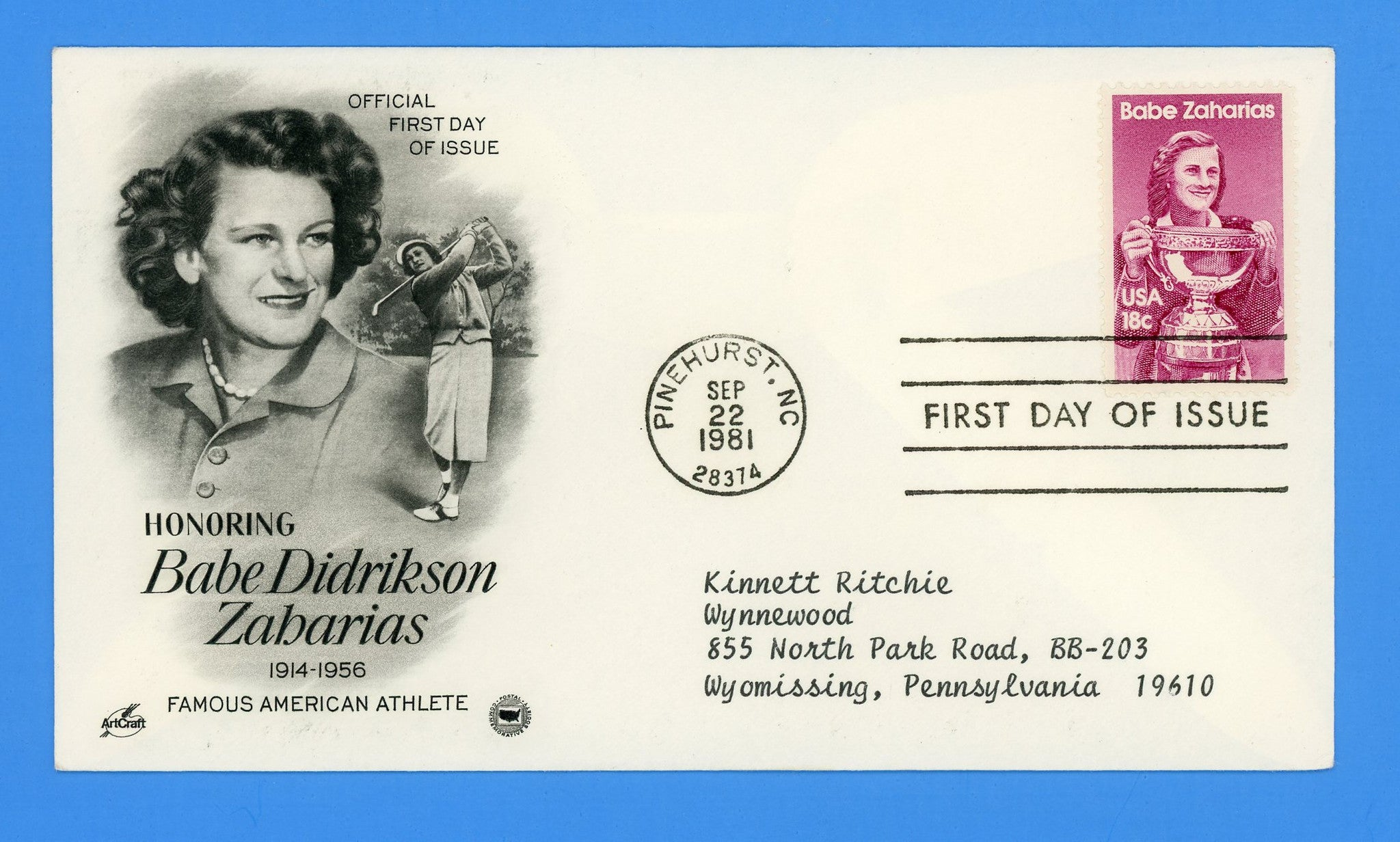 Babe Zaharias Golf First Day Cover by Artcraft/Postal Commemorative Society