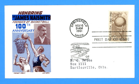 Scott 1189 4c Basketball, James Naismith First Day Cover by Cover Craft