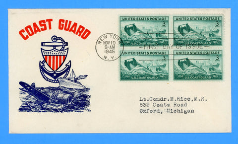 Scott #936 3c Coast Guard First Day Cover by Cachet Craft