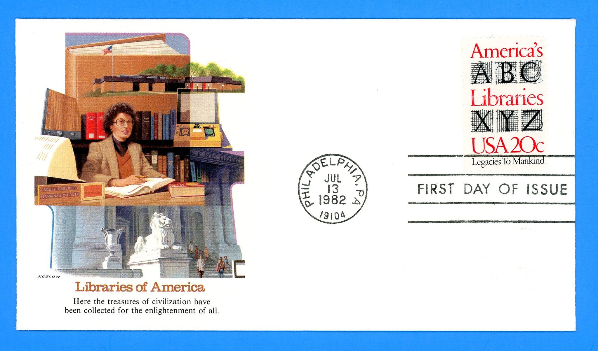 America's Libraries First Day Cover by Fleetwood