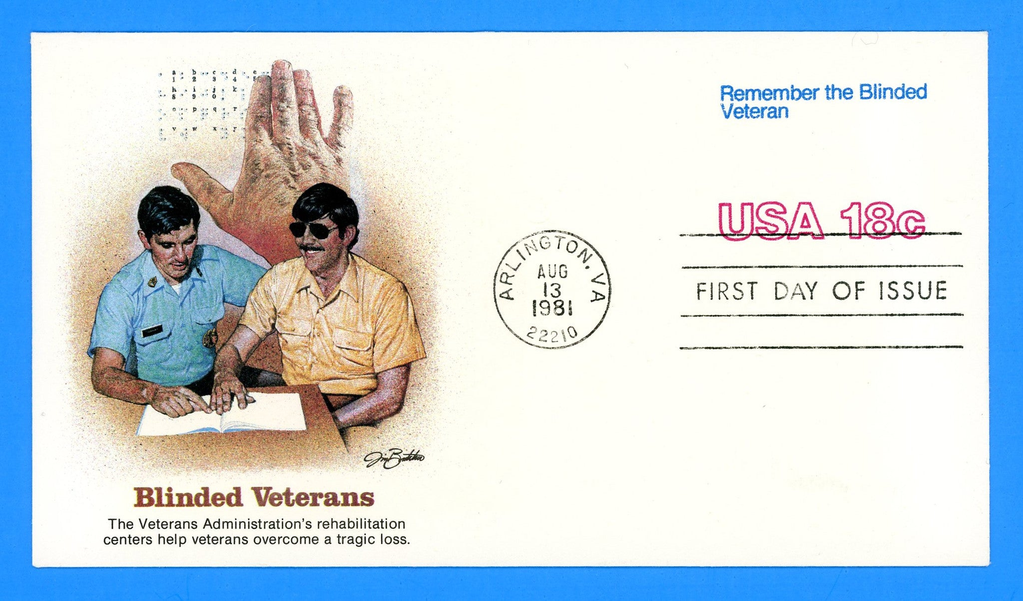 Remember the Blinded Veteran First Day Cover by Fleetwood