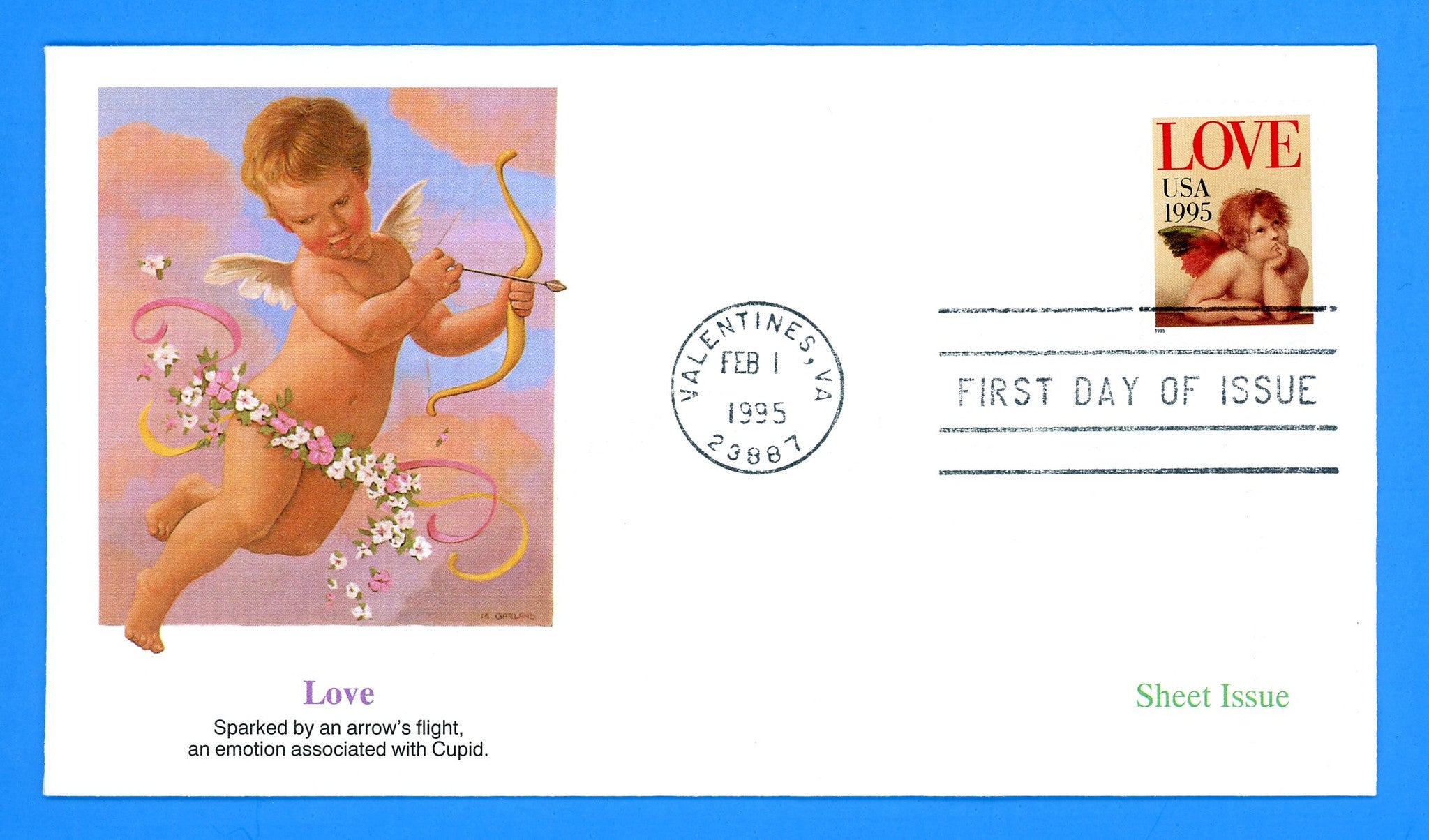 Love Stamp Cupid 1995 First Day Cover by Fleetwood