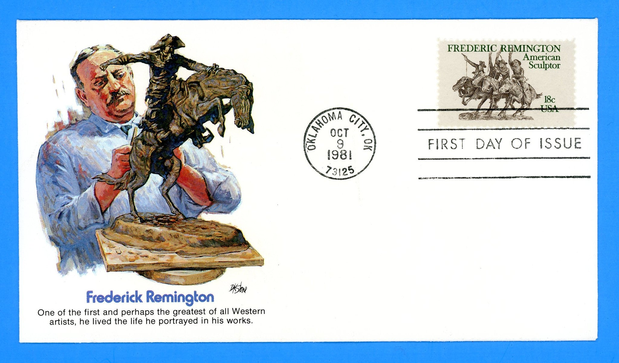 Frederic Remington First Day Cover by Fleetwood