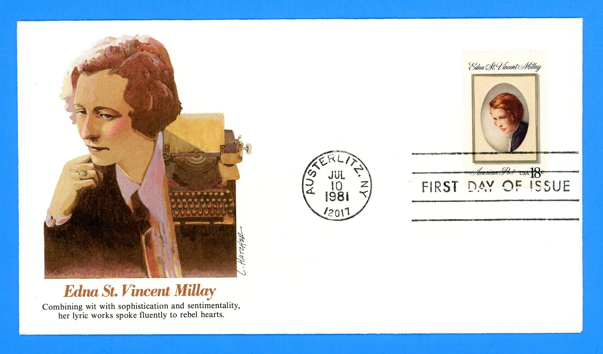 Edna St. Vincent Millay, Poet First Day Cover by Fleetwood