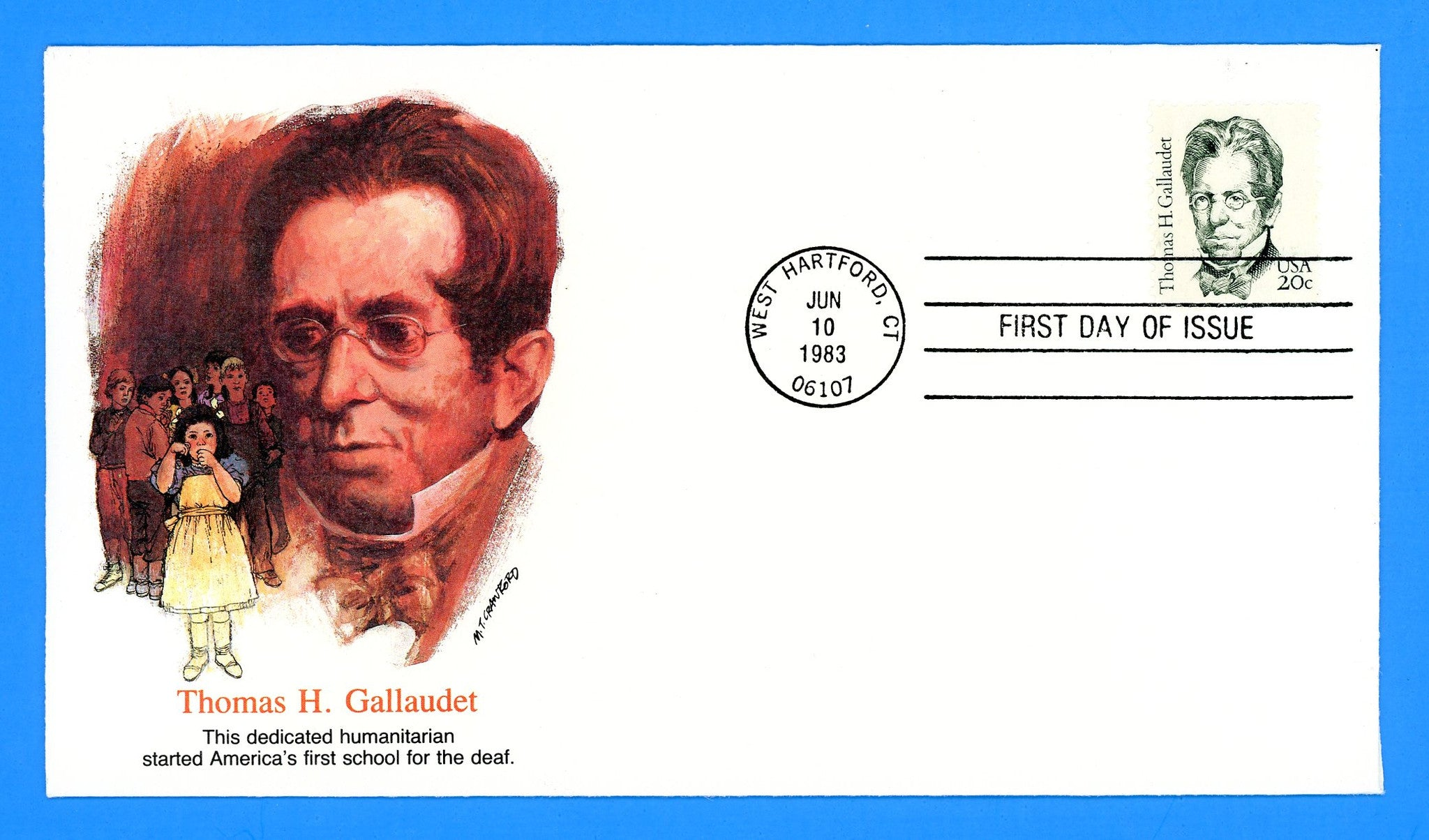 Thomas H. Gallaudet First Day Cover by Fleetwood