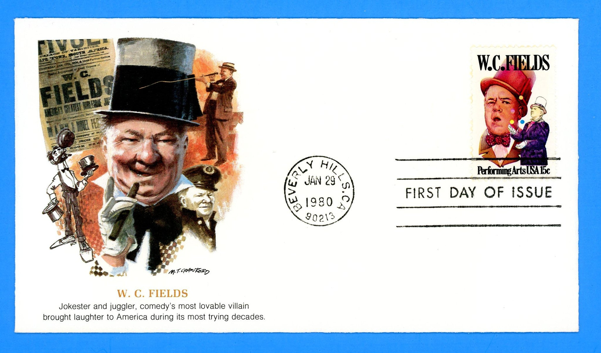 W.C. Fields, Performing Arts First Day Cover by Fleetwood