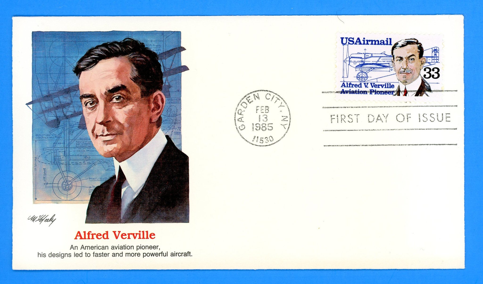 Alfred V. Verville, Aviation Pioneer First Day Cover by Fleetwood