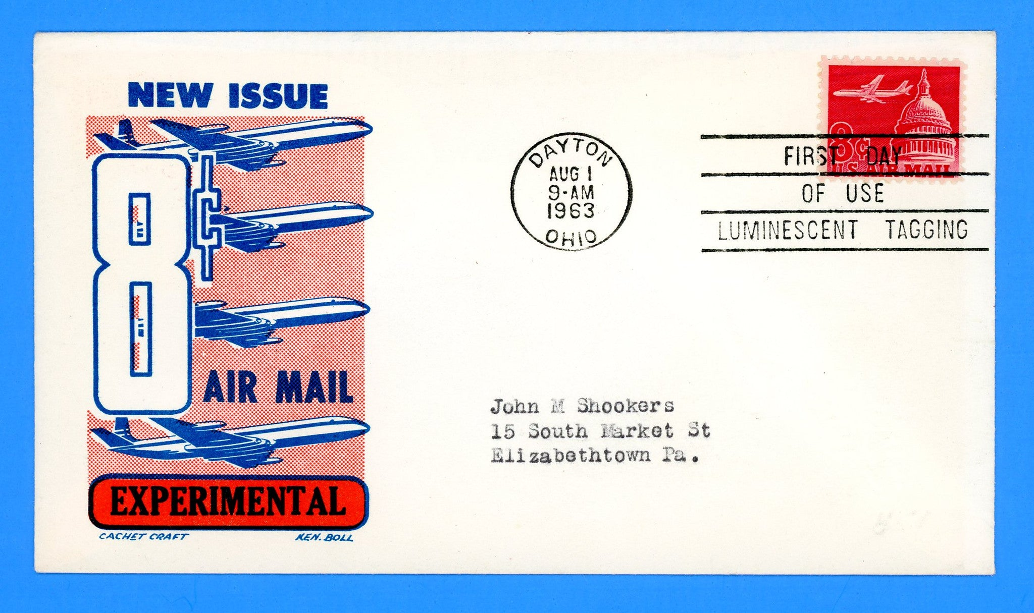 Scott C64a 8c Air Mail Luminescent Tagged First Day Cover by Cachet Craft/Boll