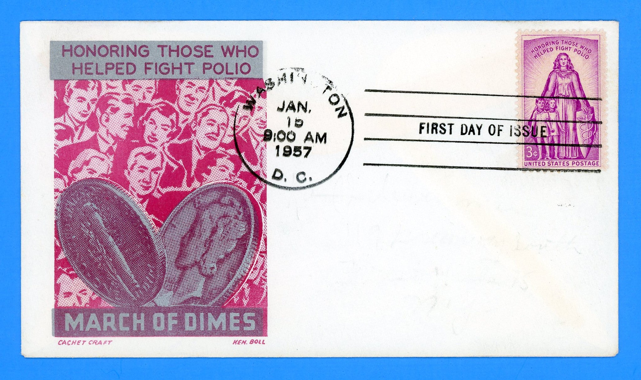 Scott 1087 Fighting Polio First Day Cover by Cachet Craft/Boll