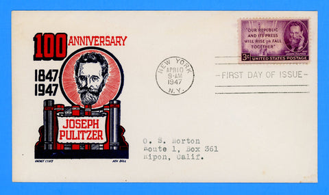Scott #946 Joseph Pulitzer First Day Cover by Cachet Craft/Boll