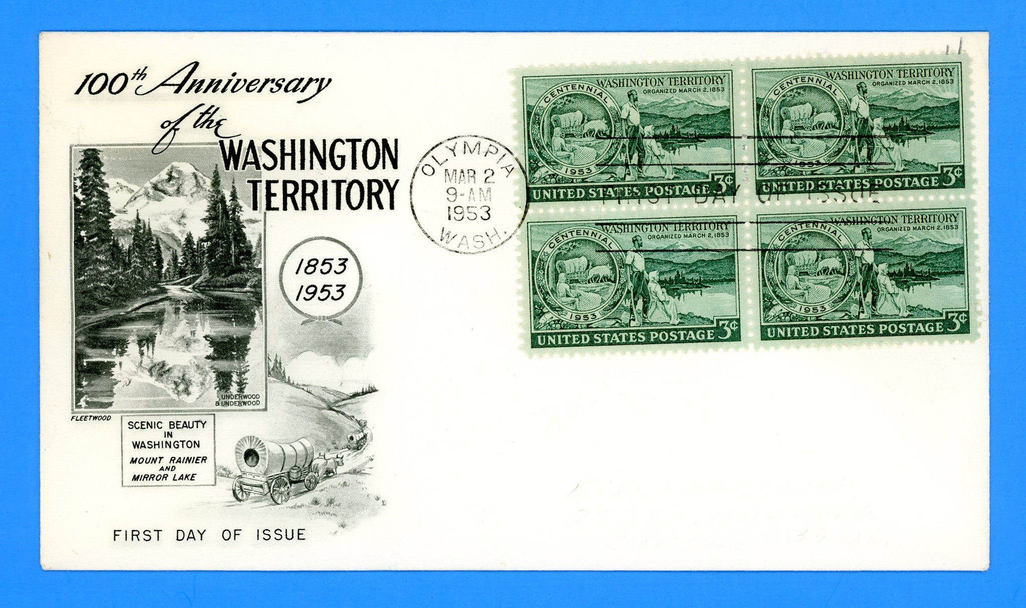 Scott 1019 Washington Territory First Day Cover by Fleetwood