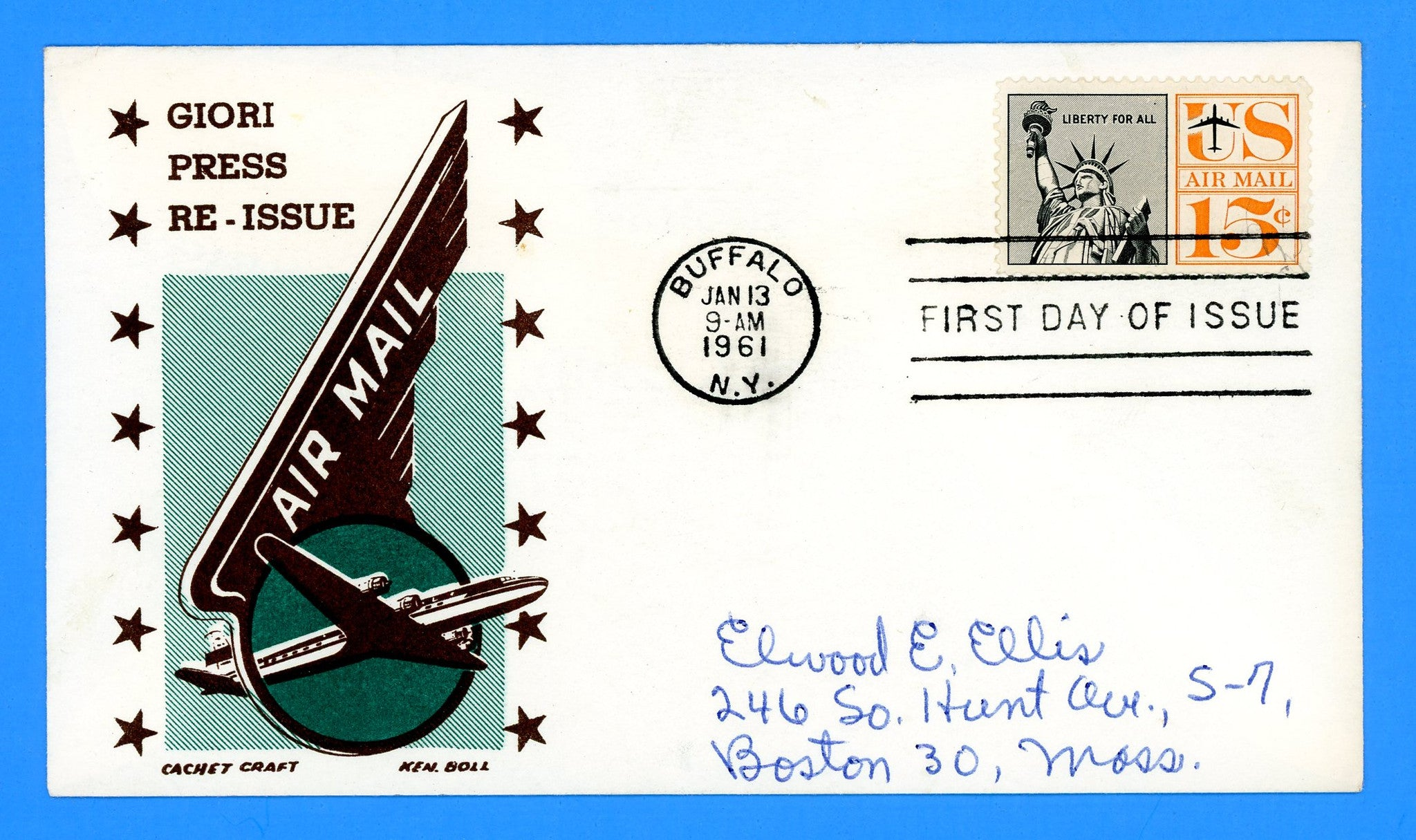 Scott C58 15c Liberty Air Mail First Day Cover by Cachet Craft/Boll