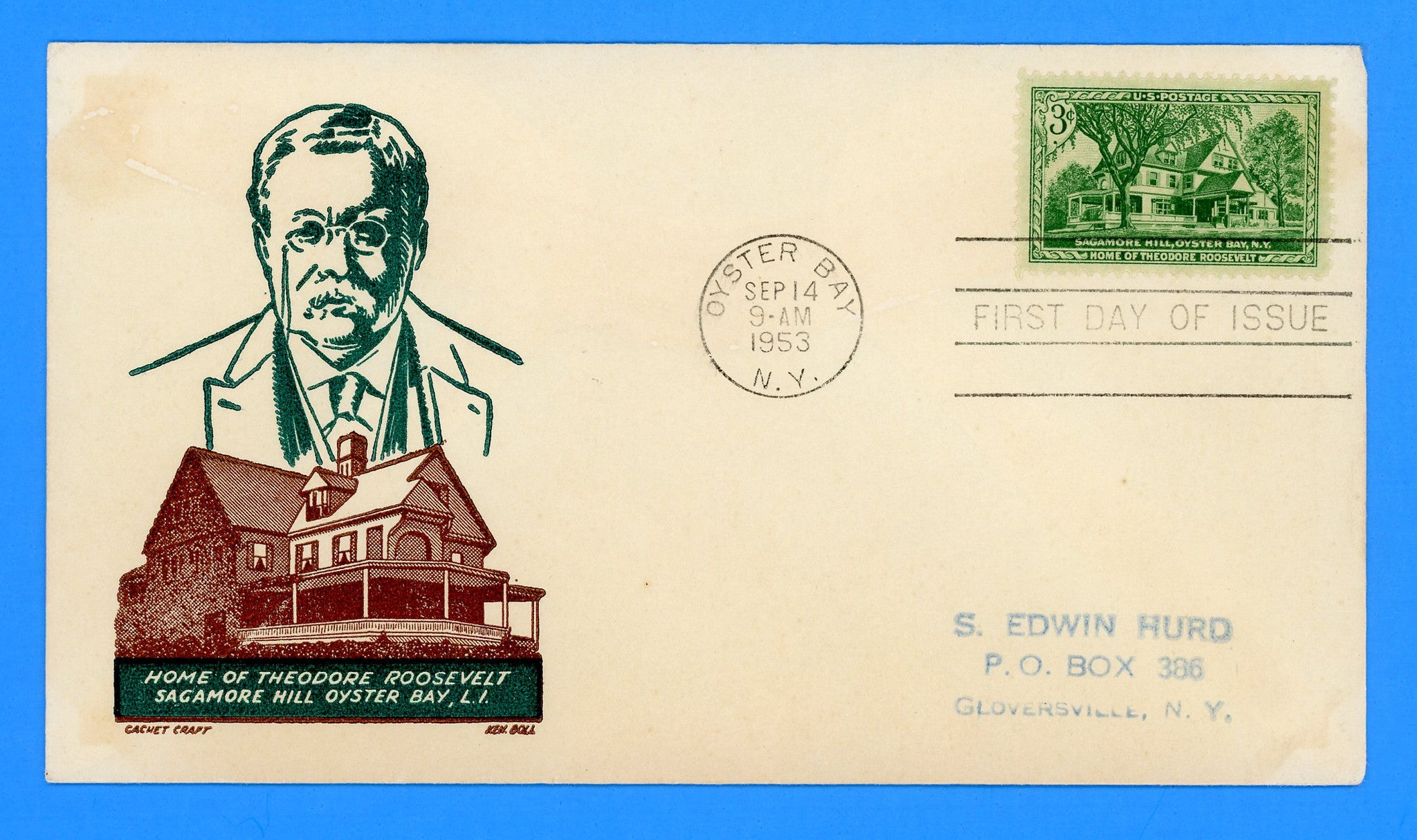 Scott 1023 Sagamore Hill, Theodore Roosevelt First Day Cover by Cachet Craft/Boll