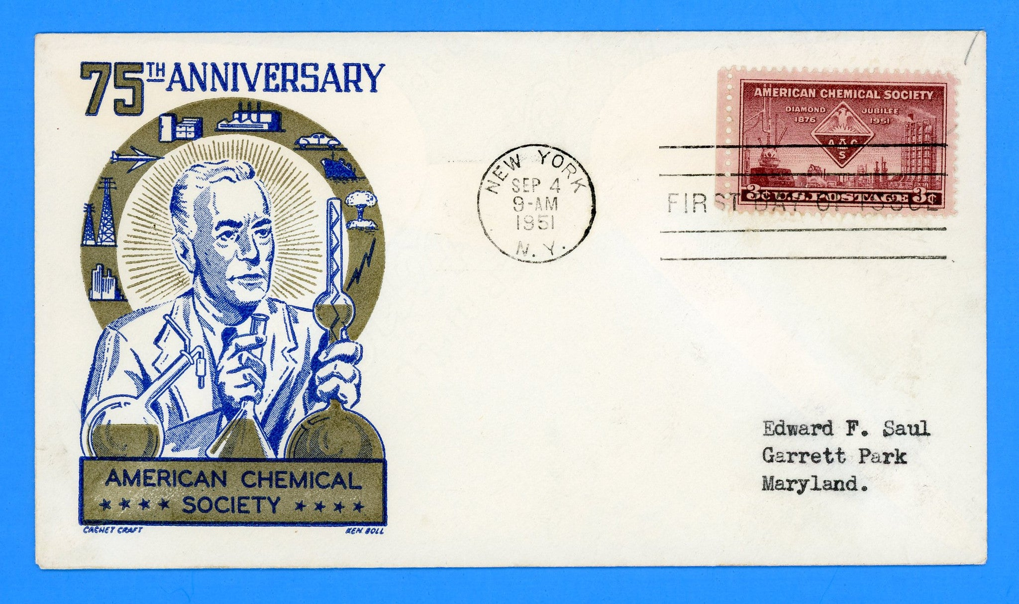Scott 1002 American Chemical Society First Day Cover by Cachet Craft/Boll