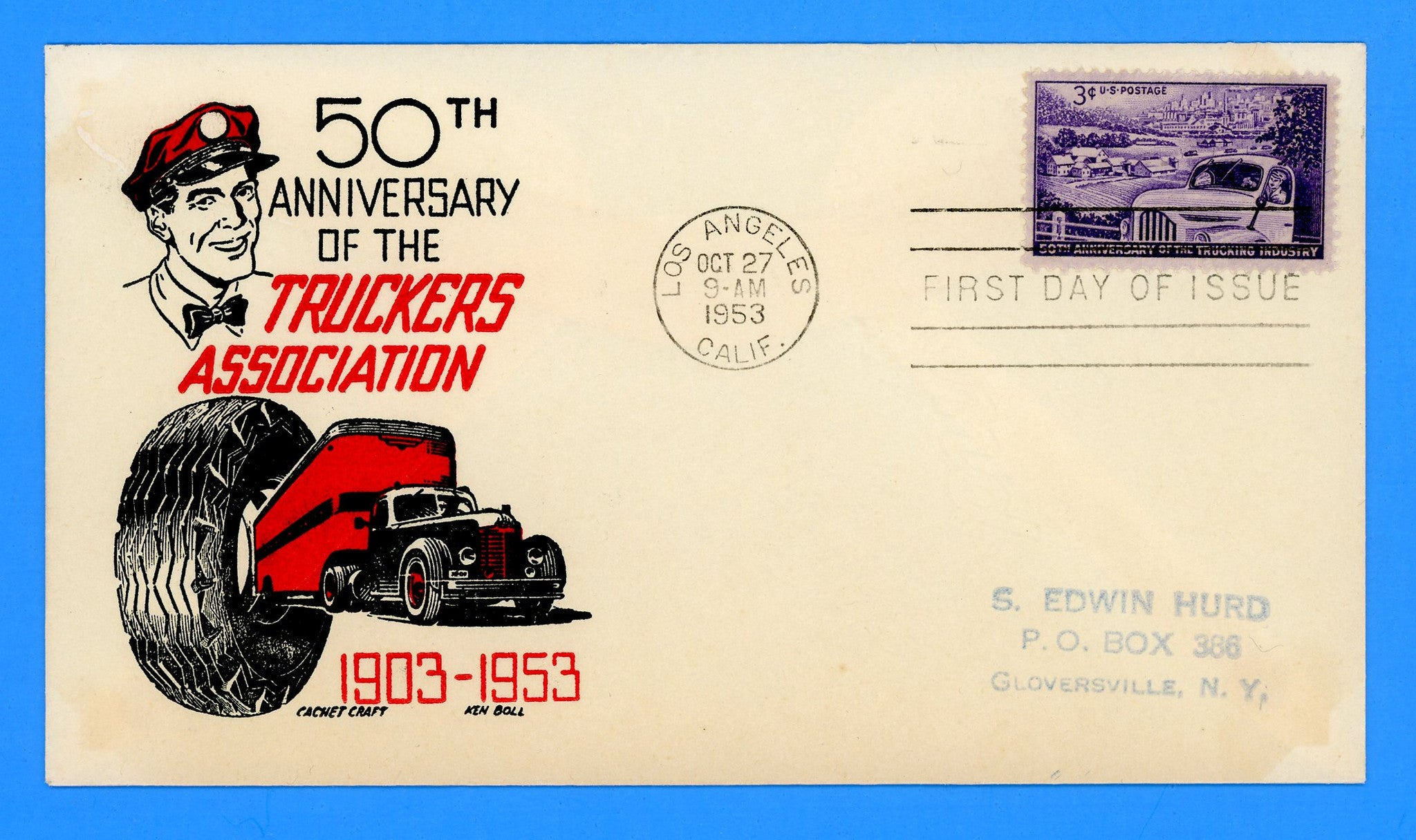 Scott 1025 Trucking Industry First Day Cover by Cachet Craft/Boll