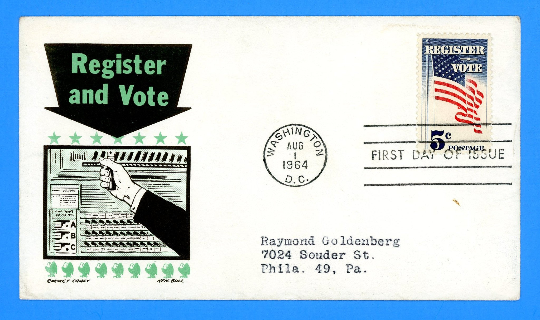 Scott 1249 Register Vote First Day Cover by Cachet Craft/Boll