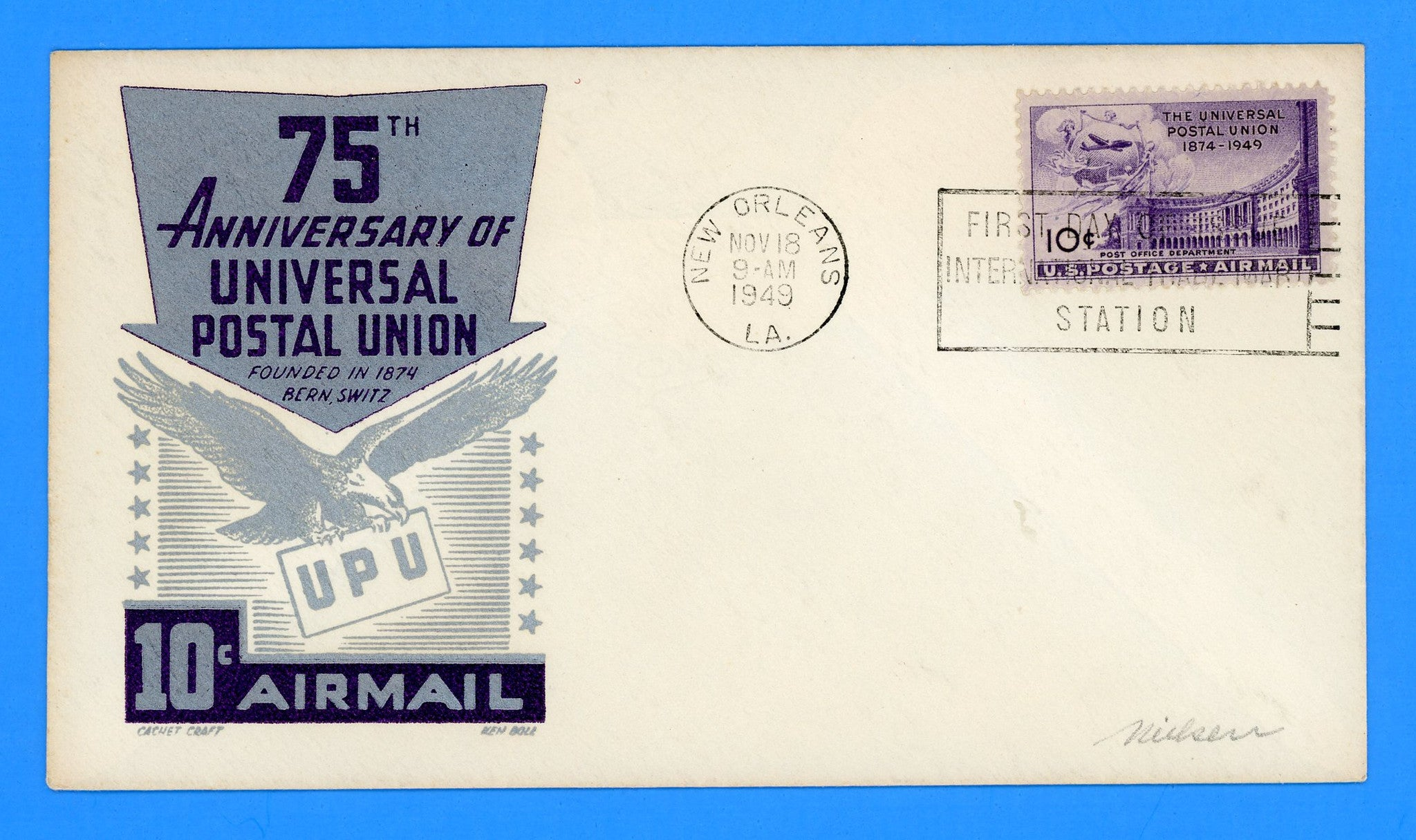 Scott C42 15c Air Mail Universal Postal Union First Day Cover by Cachet Craft/Boll