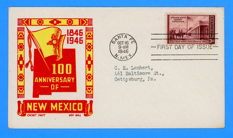 Scott #944 New Mexico Centenary First Day Cover by Cachet Craft/Boll