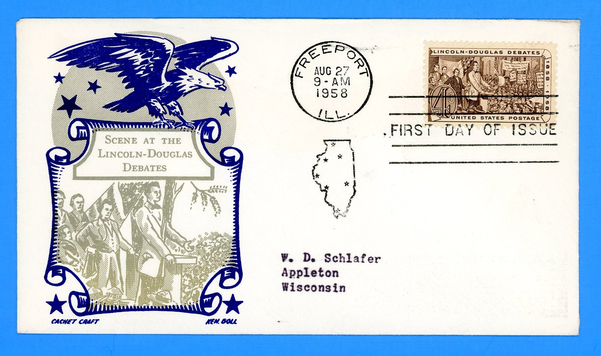 Scott 1424 Lincoln-Douglas Debates First Day Cover by Cachet Craft/Boll