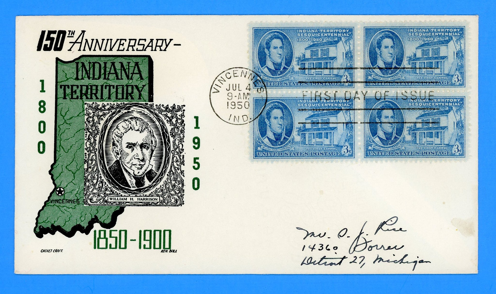 Scott #996 Indiana Territory First Day Cover by Cachet Craft/Boll