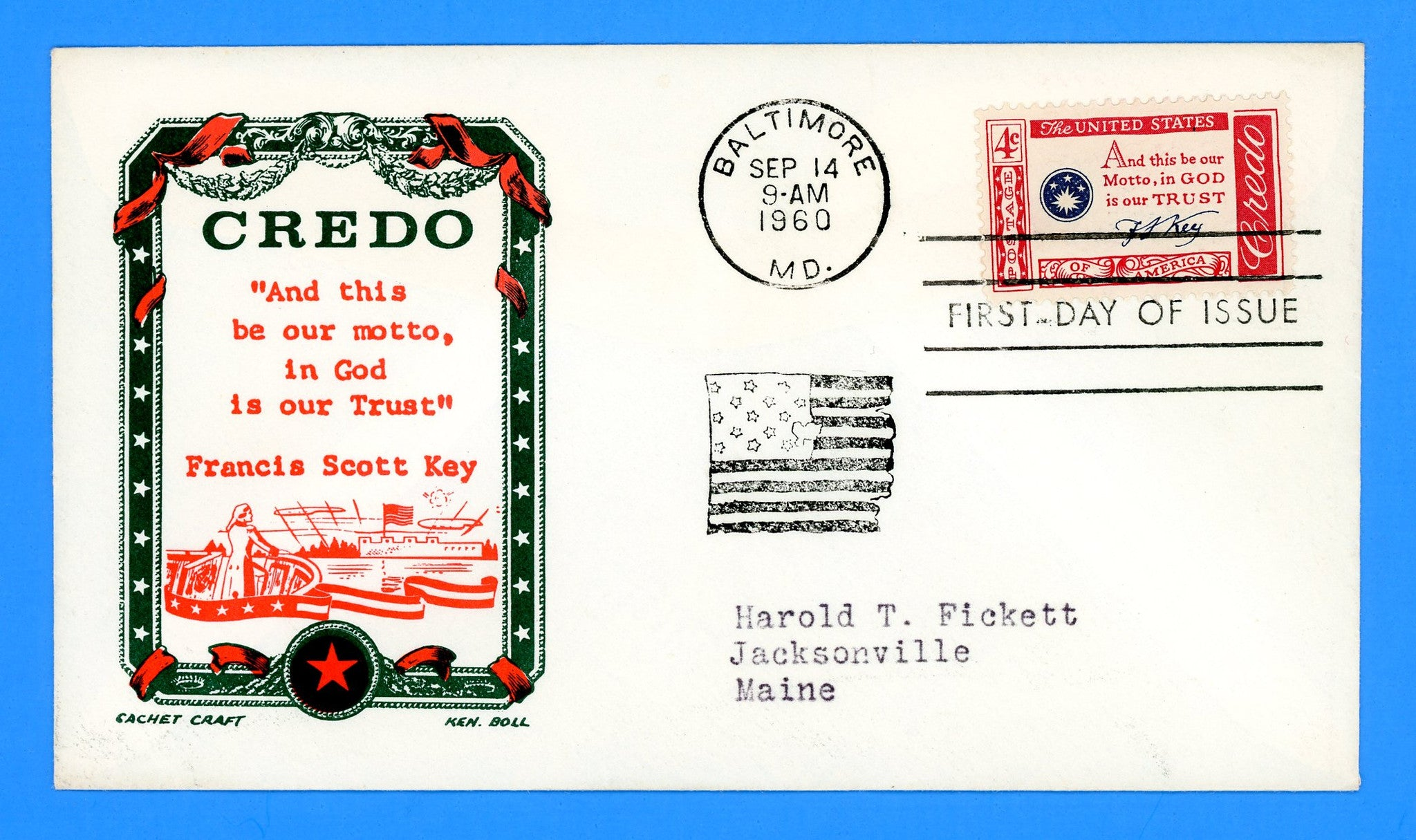 Scott 1142 Credo Francis Scott Key First Day Cover by Cachet Craft/Boll