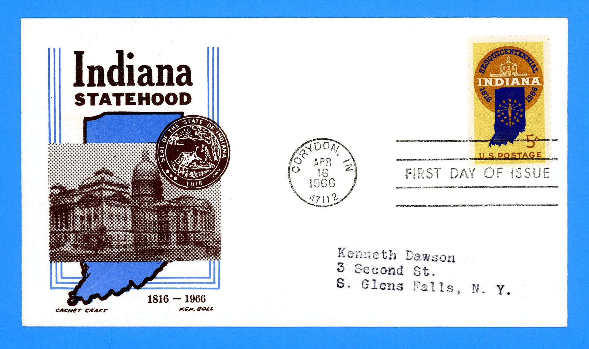 Scott 1308 Indiana Sesquicentennial First Day Cover by Cachet Craft/Boll