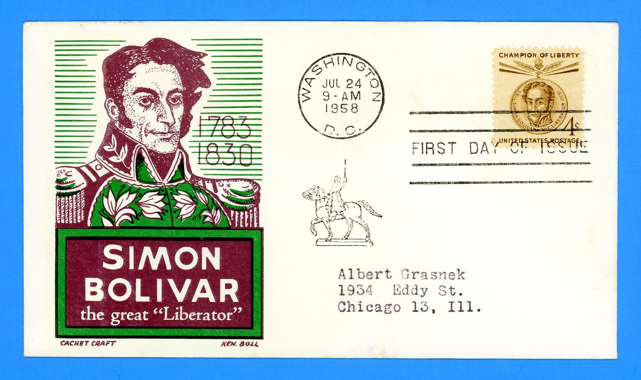 Scott 1110-11 Simon Bolivar Champion of Liberty Set of Two First Day Covers by Cachet Craft/Boll