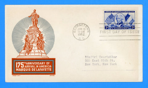 Scott 1010 Lafayette First Day Cover by Cachet Craft/Boll