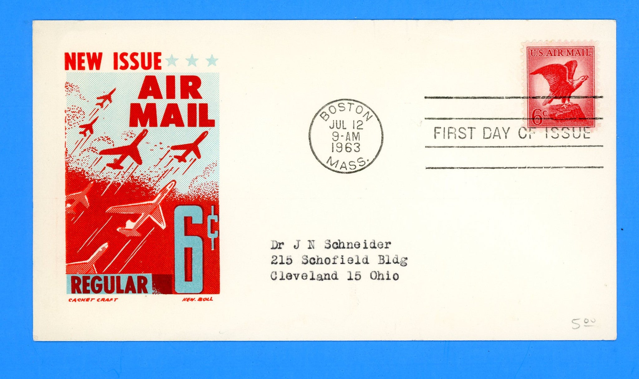 Scott C67 6c Air Mail Eagle First Day Cover by Cachet Craft/Boll on Card