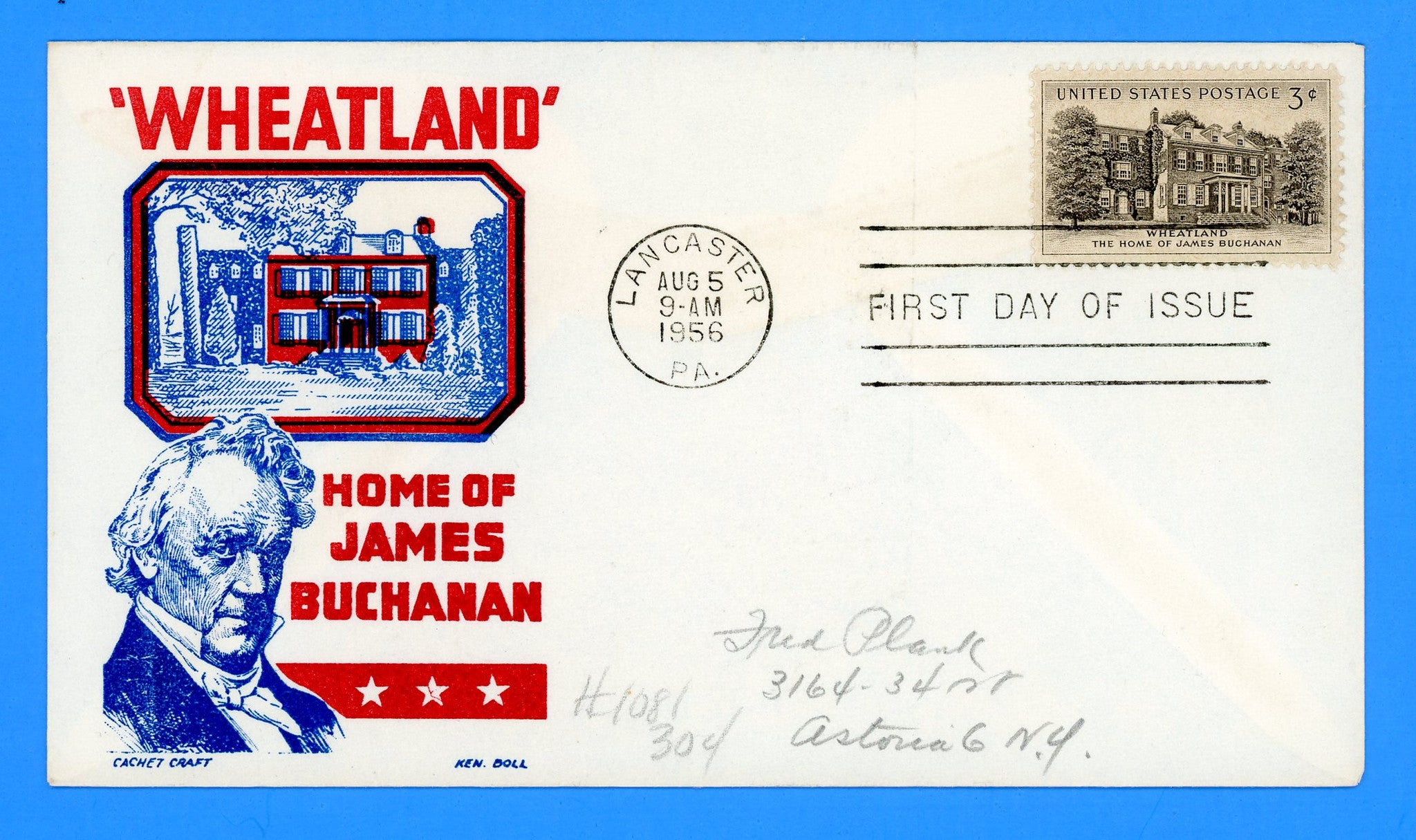 Scott 1081 Wheatland, James Buchanan First Day Cover by Cachet Craft/Boll