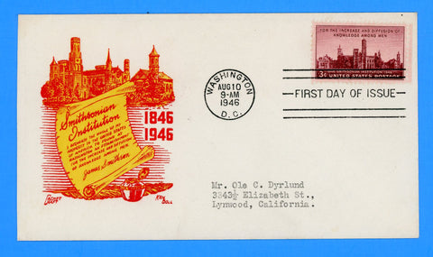 Scott #943 Smithsonian Institution First Day Cover by Cachet Craft/Boll