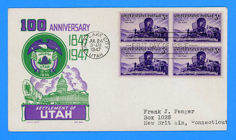 Scott #950 Utah Centennial First Day Cover by Cachet Craft/Boll