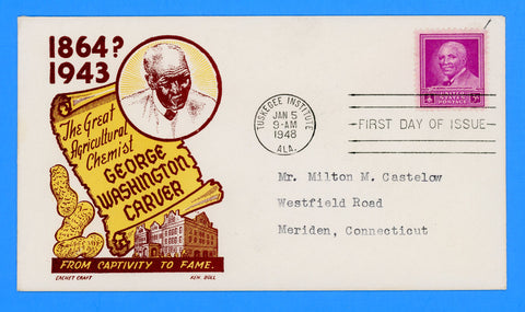 Scott #953 George Washington Carver First Day Cover by Cachet Craft/Boll