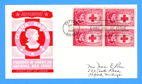 Scott #967 Clara Barton, American Red Cross Founder First Day Cover by Cachet Craft/Boll