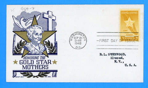 Scott #969 3c Gold Star Mothers First Day Cover by Cachet Craft/Boll