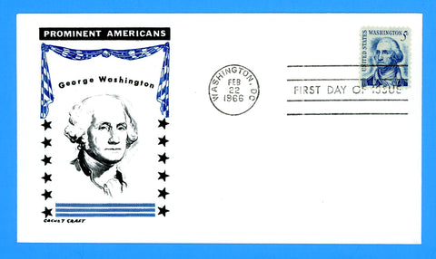 Scott #1283 5c Prominent American George Washington First Day Cover by Cachet Craft/Boll