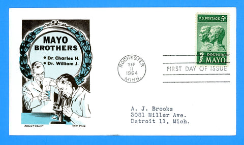 Scott #1251 Doctors Mayo First Day Cover by Cachet Craft/Boll