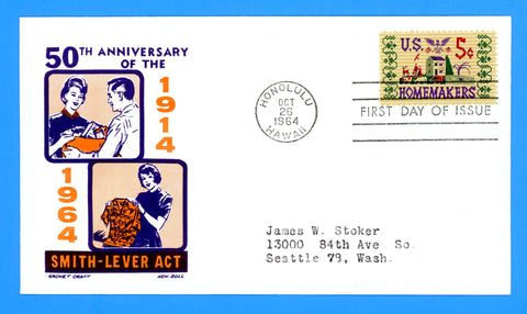 Scott #1251 Homemakers First Day Cover by Cachet Craft/Boll