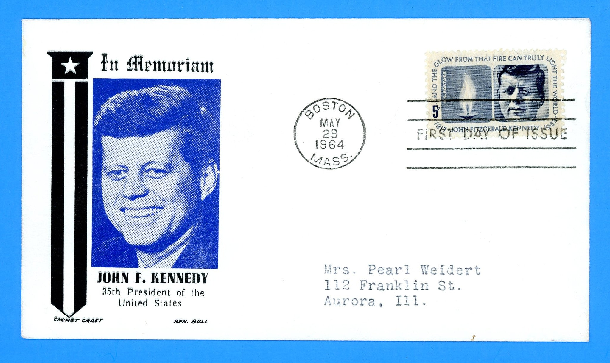 Scott 1246 John Fitzgerald Kennedy First Day Cover by Cachet Craft/Boll