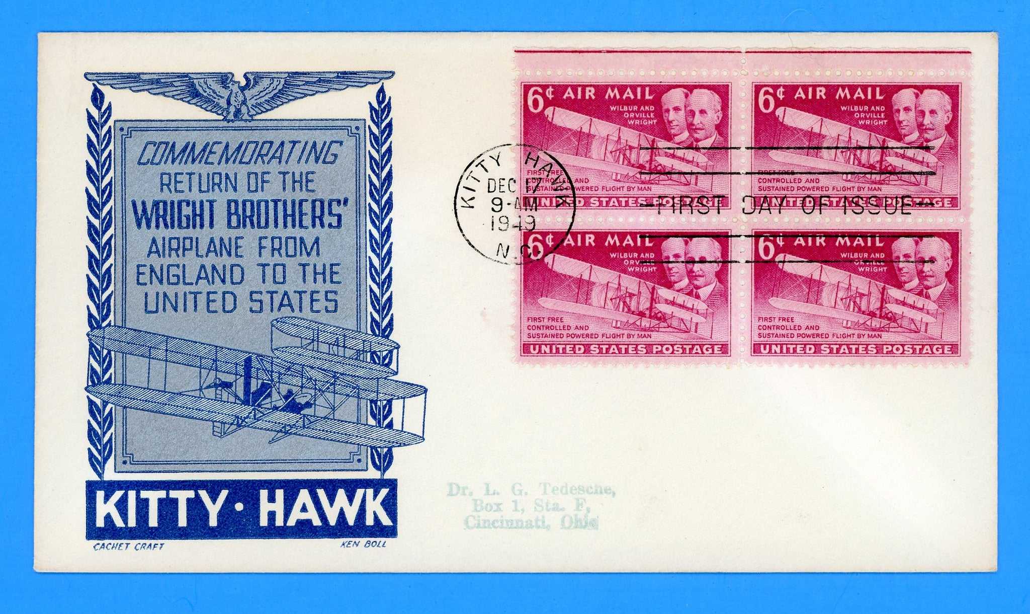 Scott C45 Wright Brothers Air Mail First Day Cover by Cachet Craft/Boll