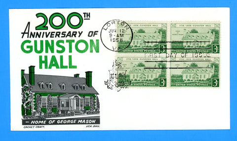 Scott #1108 Gunston Hall First Day Cover by Cachet Craft/Boll - Block of Four
