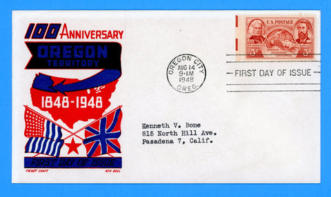 Scott #964 Oregon Territory First Day Cover by Cachet Craft/Boll