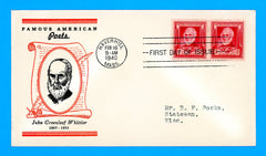 Scott #865 John Greenleaf Whittier, Famous Americans First Day Cover by Linprint